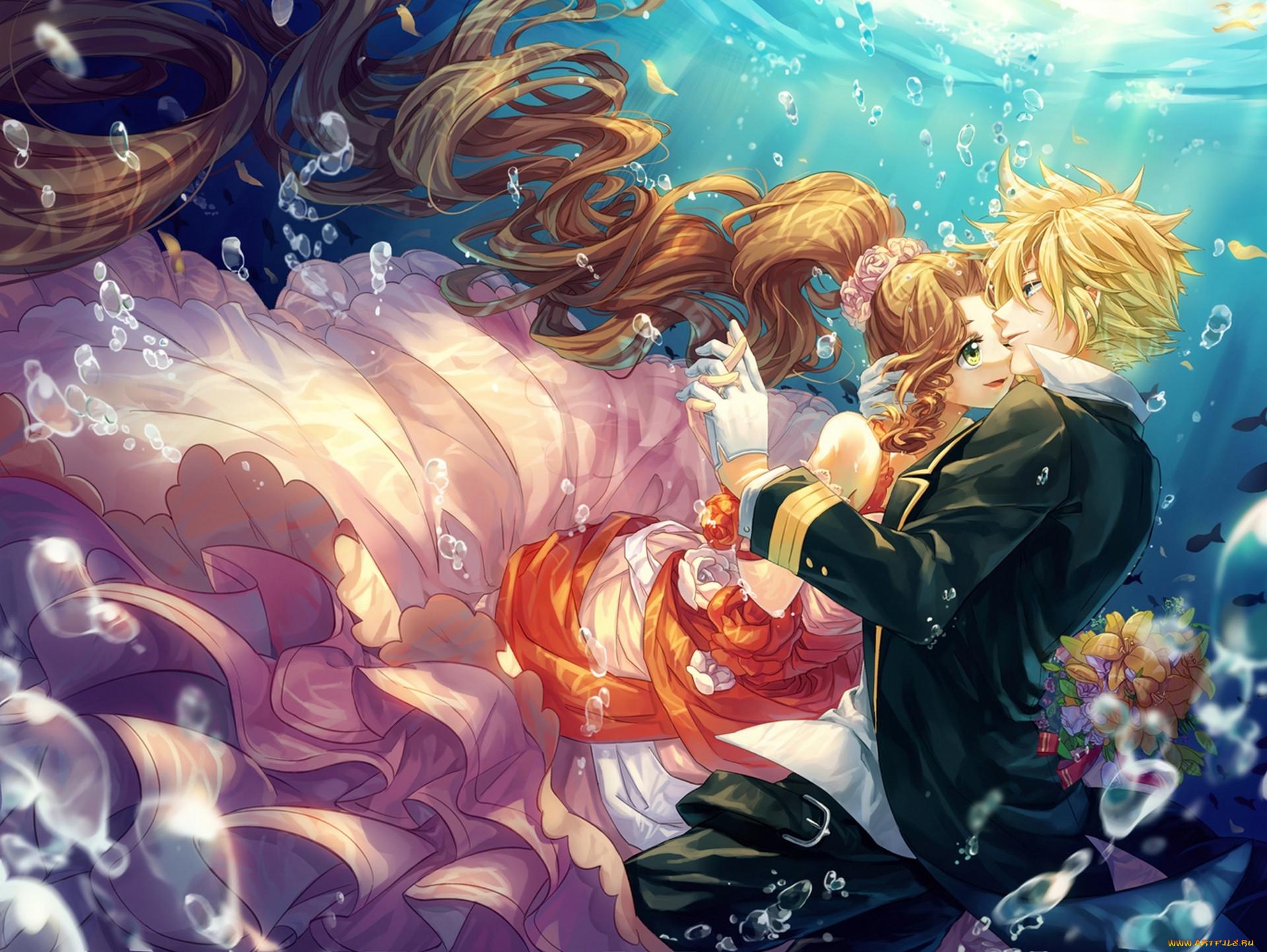 аниме, final fantasy, арт, cat, princess, final, fantasy, cloud, strife, aerith, gainsborough, девушка, парень, под, водой, пузыри, букет, цветы